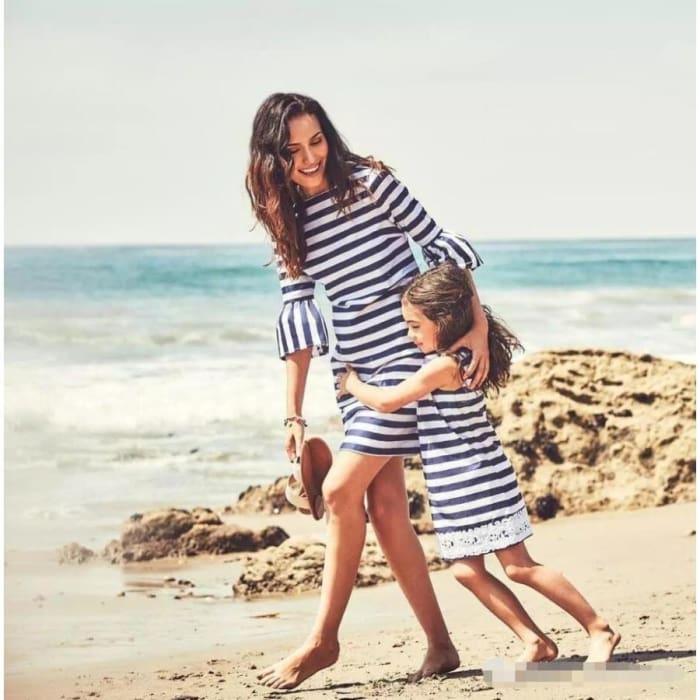 Family Matching Outfits Mother&daughter Clothes Dress Girl Striped Skirt - Stripe / M