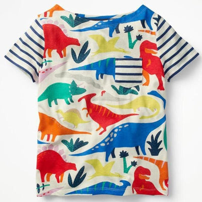 Fashion European And American Style Animal O-Neck - Multicolor Dinosaur / 3Y - Girls