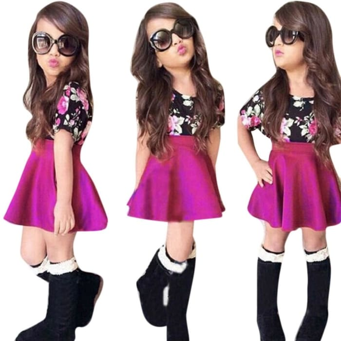 Fashion Floral Girl Short Sleeve Tops T-Shirt With Mini Skirt - Girls