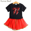 Fashion Style Sequin Stars T-Shirt + Dress 2Pcs - Black 1 / 2Y - Girls