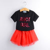 Fashion Style Sequin Stars T-Shirt + Dress 2Pcs - Black / 2Y - Girls