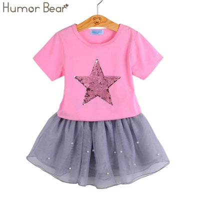 Fashion Style Sequin Stars T-Shirt + Dress 2Pcs - Girls