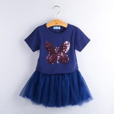 Fashion Style Sequin Stars T-Shirt + Dress 2Pcs - Blue / 2Y - Girls