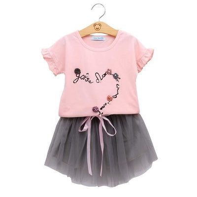 Fashion Style Sequin Stars T-Shirt + Dress 2Pcs - Pink / 2Y - Girls