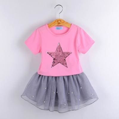 Fashion Style Sequin Stars T-Shirt + Dress 2Pcs - Pink / 3Y - Girls