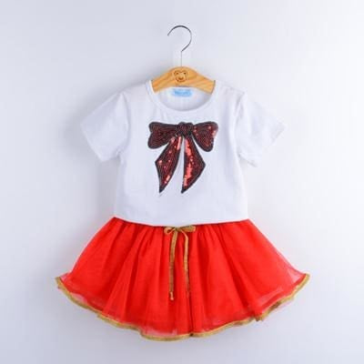 Fashion Style Sequin Stars T-Shirt + Dress 2Pcs - White 1 / 2Y - Girls