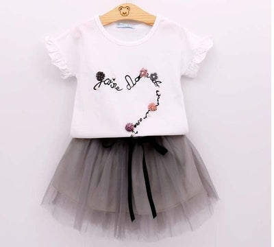 Fashion Style Sequin Stars T-Shirt + Dress 2Pcs - White 2 / 2Y - Girls