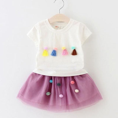 Fashion Style Sequin Stars T-Shirt + Dress 2Pcs - White / 2Y - Girls