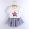 Fashion Style Sequin Stars T-Shirt + Dress 2Pcs - White / 3Y - Girls