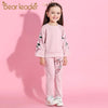 Flare Long Sleeve Flowers Embroidery Sweatshirts+Pants - Girls
