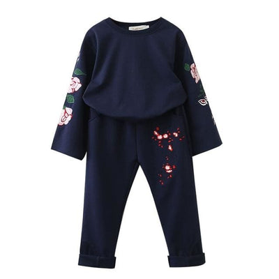 Flare Long Sleeve Flowers Embroidery Sweatshirts+Pants - Navy Blue / 3Y - Girls