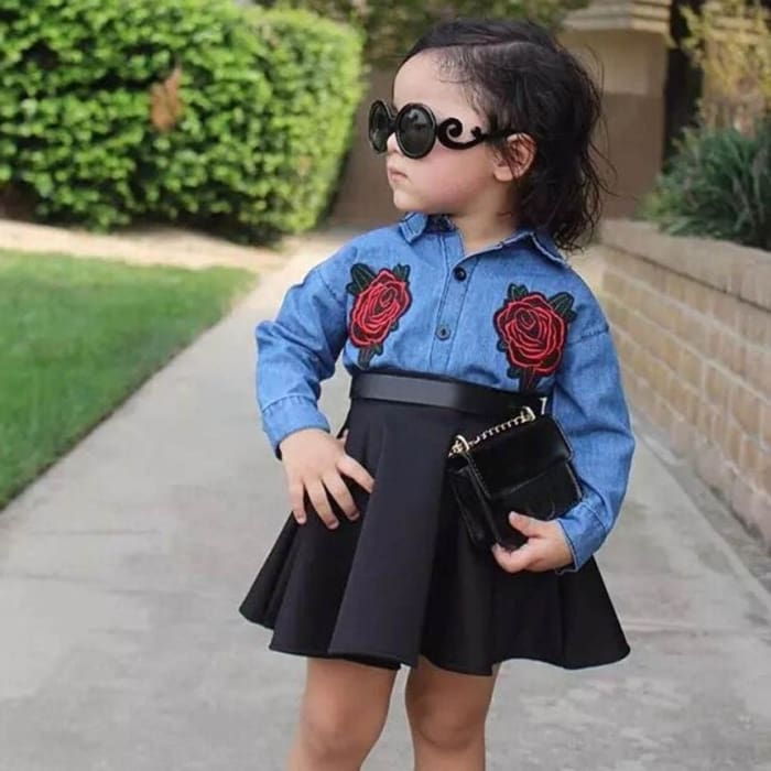Floral Embroidery Long Sleeve Shirt With Black Skirt - Baby Girls