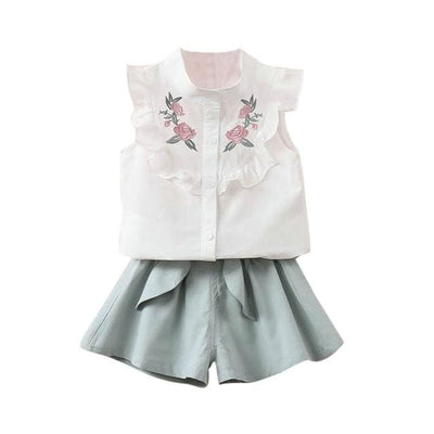 Floral Embroidery Outfit - Green / 2Y / China - Girls