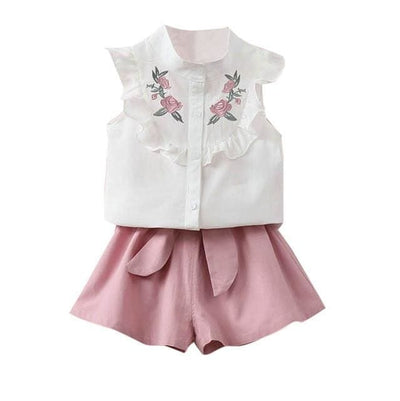 Floral Embroidery Outfit - Pink / 2Y / China - Girls