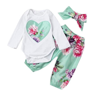 Floral Outfit - White / 6M / China - Baby Girls