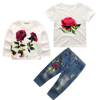 Floral Rose - White / 3Y - Girls