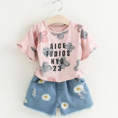 Floral Sets Print - Pink / 4Y - Girls