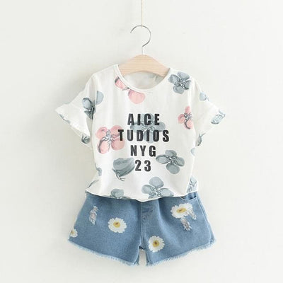Floral Sets Print - White / 4Y - Girls