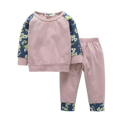 Flower Print Sport Suit - Pink / 6M / China - Girls