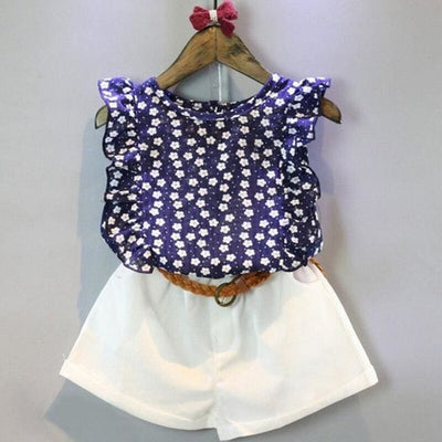 Flowers Blue T-Shirt+ Pants Girls - Navy Blue / 3Y - Girls