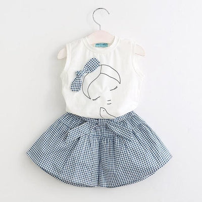 Flowers Blue T-Shirt+ Pants Girls - White / 3Y - Girls
