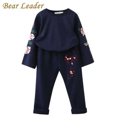Flowers Embroidered Sweatshirts+Pants - Girls