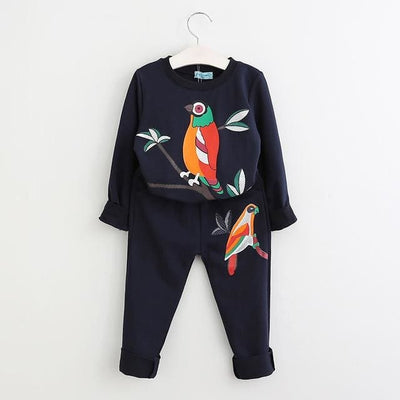 Flowers Embroidered Sweatshirts+Pants - Navy Blue 1 / 3Y - Girls