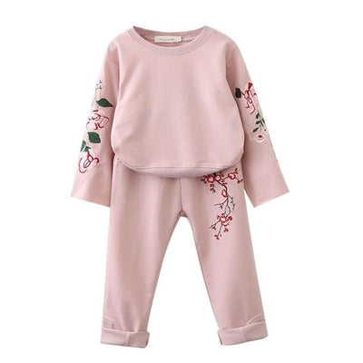 Flowers Embroidered Sweatshirts+Pants - Pink 1 / 3Y - Girls