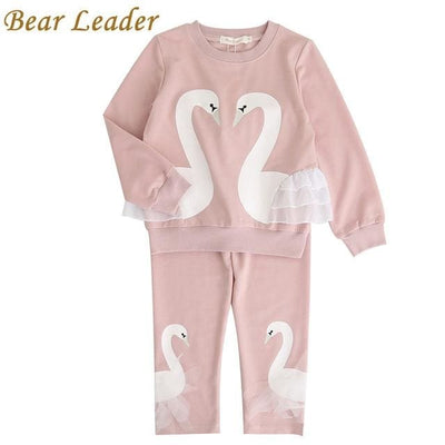 Flowers Embroidered Sweatshirts+Pants - Pink / 3Y - Girls