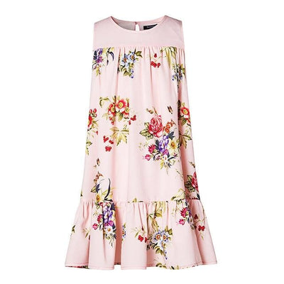 Flowers Printing Girls Dress - Pink / 10Y - Girls