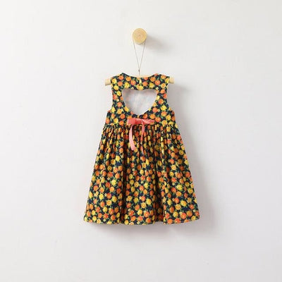 Fruits Print Princes Dress Hollow Back - Yellow / 3Y - Girls