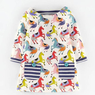 Full Casual Dresses Cute Pattern - Multi / 3Y - Girls