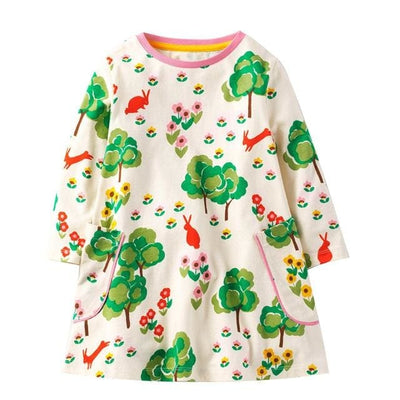 Full Casual Dresses Cute Pattern - Multi Green / 3Y - Girls