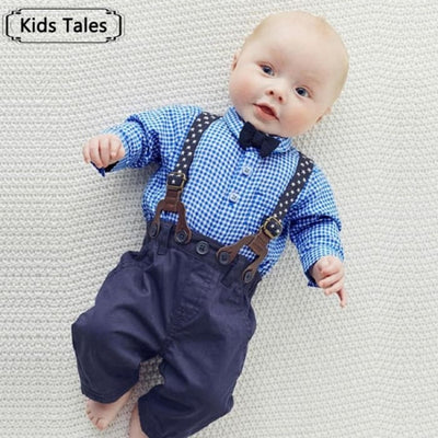 Gentlemens Suit For Newborns Plaid Shirt+Butterfly+Pants Suspenders - Baby Boys