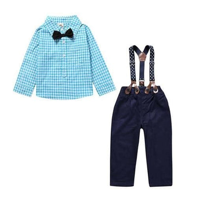 Gentlemens Suit For Newborns Plaid Shirt+Butterfly+Pants Suspenders - Blue / 9M - Baby Boys