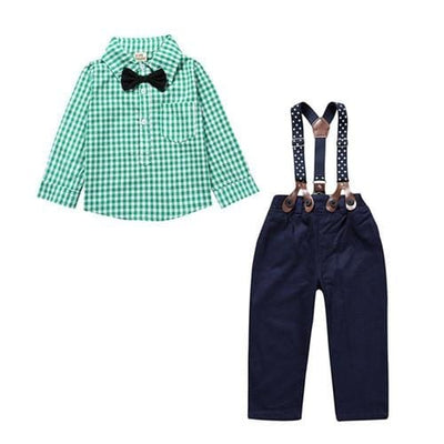 Gentlemens Suit For Newborns Plaid Shirt+Butterfly+Pants Suspenders - Green / 9M - Baby Boys