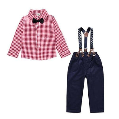 Gentlemens Suit For Newborns Plaid Shirt+Butterfly+Pants Suspenders - Pink / 9M - Baby Boys
