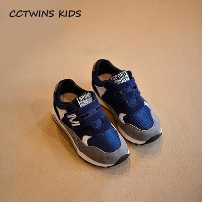 Genuine Leather Black Sport Sneaker - Blue / 12.5 - Baby Boys