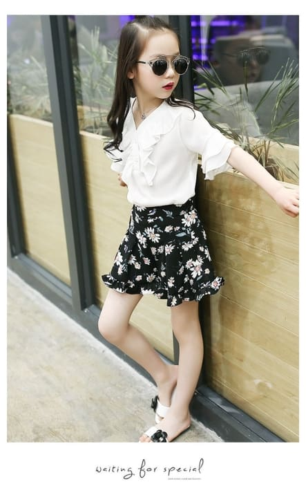 Girl Chiffon Shirt V Neck + Floral Skirt - Girls