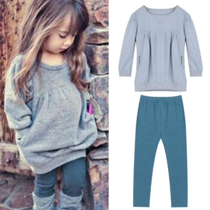 Girl Cotton T-Shirt Tops+Pants Outfits Set - Grey / 3Y - Girls