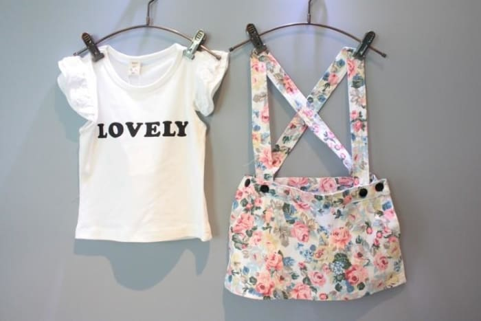 Girl Outfit Set Tshirt+Floral Overalls - Girls
