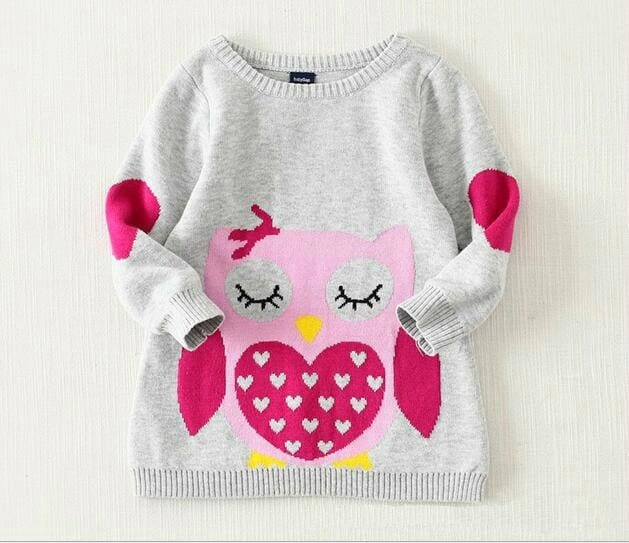 Girl Owl Pattern Knitted Sweater
