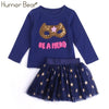Girl Sequins Letter Long Sleeve T-Shirt + Stars Skirt - Girls
