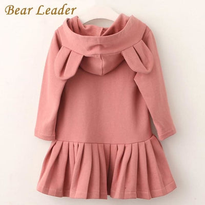 Girls Blouse Rabbit Ears Hooded Ruched - Girls