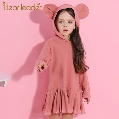 Girls Blouse Rabbit Ears Hooded Ruched - Pink / 2Y - Girls