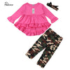 Girls Camouflage Outfits Rose Red Tops Dress+Leggings - Girls