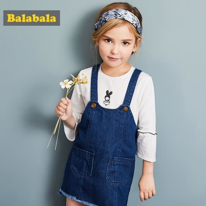 Girls Denim Jeans Jumper Dress - Blue / 4Y - Girls