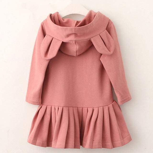 Girls Dress Solid Hooded Long Sleeves - Girls