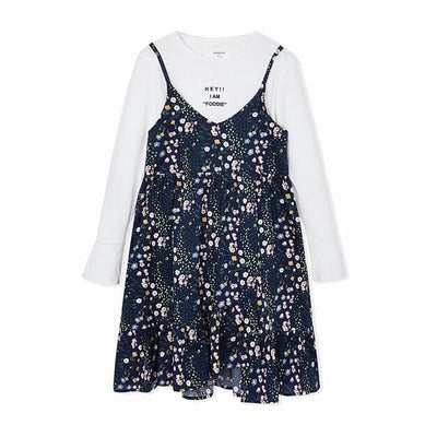 Girls Floral Dress - Black / 6Y - Girls