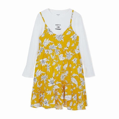 Girls Floral Dress - Yellow / 6Y - Girls